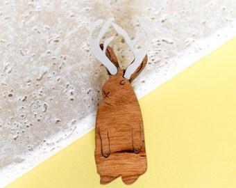 Jackalope Brooch - jackalope gift - jackalope jewellery - gift for her - rabbit brooch - cryptozoology gift - unusual jewellery