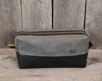 Waxed Canvas and Leather Travel Bag Shaving Kit with Monogram in Charcoal and Black Gift for Man Groomsmen Groom Wedding