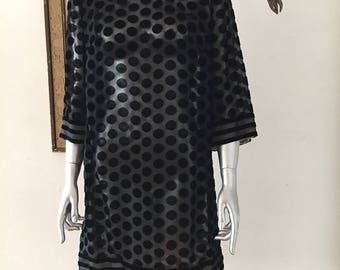 1960s Sheer Black Dress with Black Velvet Dots and Stripes
