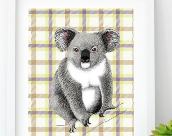 Koala PRINTABLE, Animal Wall Art, Wildlife Wall Art, Color Animal Print, Printable Koala, Digital Download, nursery art, Cabin Home Decor