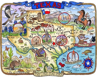 "Texas State Map 16""x 20"" Art Print"