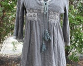 Gray embroidered trim peasant shirt boho pullover hippie blouse top tassels cotton large smock tunic