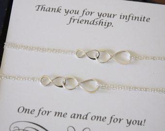 Friendship Inifnity Bracelet Set, Infinity Jewelry, Best friend Gift, Besties Gift, White Pearl, Silver Bracelet, BFF, Gold