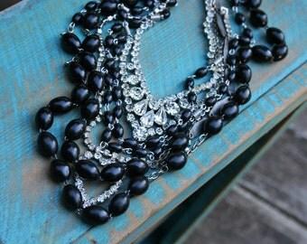 Rosary Reyna II - Black Rosary and Vintage Rhinestone Multi Strand Necklace