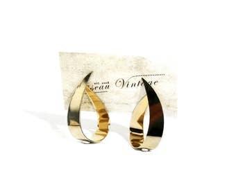 1970's Gold Toned Oversized Stud Earrings