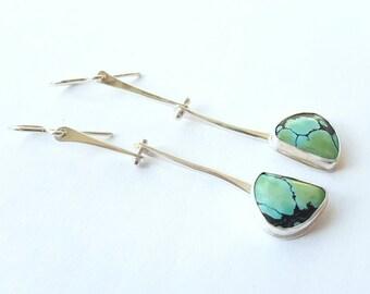 Turquoise Earrings Hinge Earrings Unique Stone Earrings Sterling Silver Earring Joint Earrings Long Dangle Earrings Bohemian Earrings