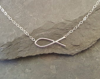 SILVER, Handmade, Christian, Ichthys, Faith, Fish Necklace, Sterling Silver, Ichthus, Baptism Gift