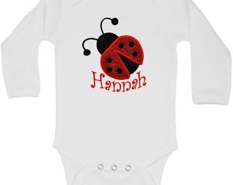Personalized Embroidered Sparkling GLITTER Ladybug Onesie Bodysuit with Your Custom NAME with Optional Added TUTU