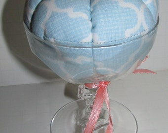 Cocktail glass Pin Cushion in light blue, sewing, sewing gift, pin keep, pincushion