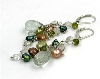 Green Gemstone Earrings Wire Wrap Green Amethyst Vesuvianite Earrings Green Champagne Pearl Cluster Dangle Earrings Sterling Silver