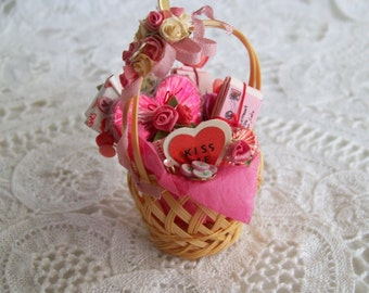 Miniature, Valentine Basket, Hand made, one inch scale, unsigned.