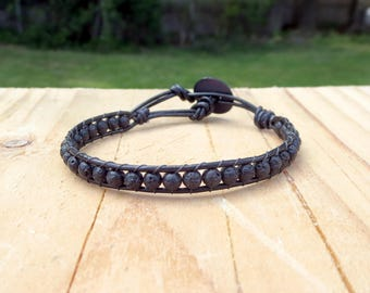 Essential Oil Diffuser Jewelry, Black Leather Wrap Around, Lava Stone Beaded Trendy Street Style, Gifts for Yogi, Urban Country Fashion