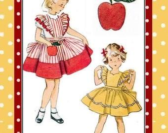 Vintage 1952-APPLE POCKET PINAFORE Dress-Sewing Pattern-Scallop Neckline-Twirl Skirt-Ruffle Sleeve-Apple Applique Pocket-Size 1-Rare