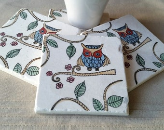 Absorbent Tile Coasters - Woodland Owl Home Decor - Father's Day Gift - Otis the Owl Design