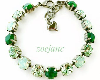 Swarovski Crystal Bracelet Green Opal Chrysolite Antique Silver Greenery Rhinestone Tennis Bracelet, Rhinestone Bracelet, Gifts