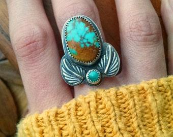 Hachita Spiderweb Turquoise Leaves Ring - size 7.75 - boho hippie statement ring ponderbird