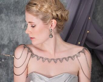 Sansa Shoulder Necklace, Statement Shoulder Jewelry, Black Necklace, Bridal Shoulder Necklace, Bridal Shoulder Chain, Black Jewelry