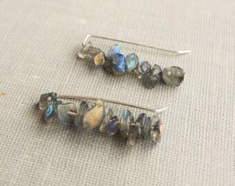 Labradorite Stud Earrings. Ear climbers. Sterling Silver