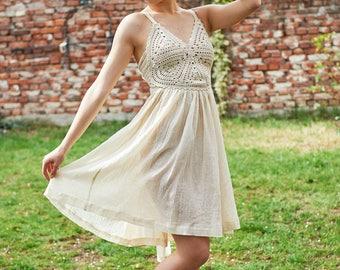 Sheer Dress, Ivory Dress, Sun Dress, Strap Dress, Bustier Dress, Beach Dress, See Trough Dress, Plus Size Clothing, Boho Midi Dress
