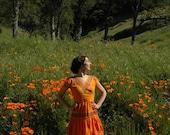 Size Small... Vintage Golden Orange Cotton Western Dress... Adorable Colors... Great Fit