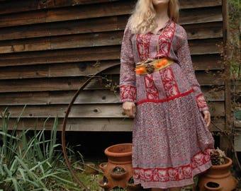 Long Sleeve Bohemian Dress / Indian Gauze Dress / Gypsy Dress / Indian Cotton Dress / Festival Dress / Summer Dress / Hippie Dress