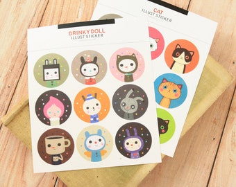 Drinky Doll & Cat round paper stickers