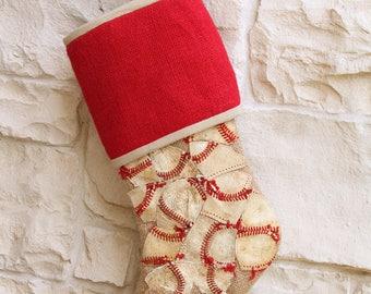 Baseball Christmas Stocking, Burlap, Natural and Red, Repurposed Baseballs, Gift for Guy, OOAK, MLB, Baseball Decoration, Coach Gift