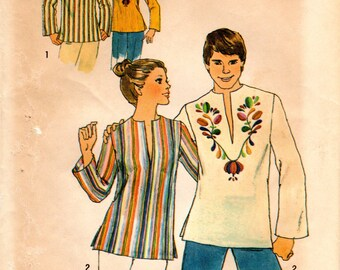 1970s Womens Peasant Hippy Top - Vintage Pattern Simplicity 7440 - Size 8-10 Pullover Top