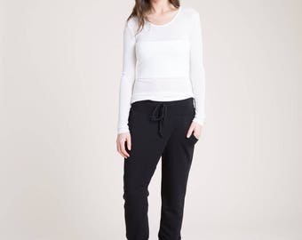 NEW Cool Jogger Pants / Black Pants / Loose Fitting Pants / High Fashion Pants / Fold Over Pants / marcellamoda - MP844