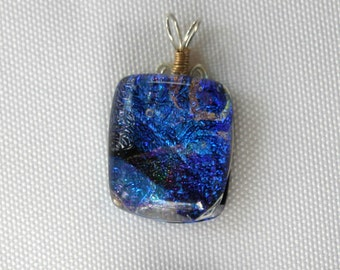 Blue Dichroic Fused Glass Pendant with Sterling Silver and Gold Filled Wire Wrap - Cyberlily