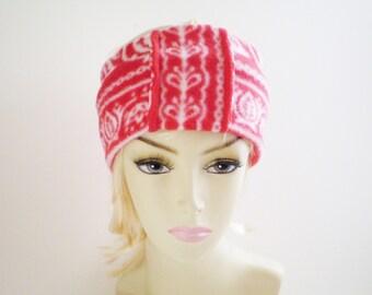 Red White Fleece Ear Warmer, Scandinavian Ear Warmer, Scandinavian Headband, Fleece Scandinavian Headband, Fleece Red and White Headband