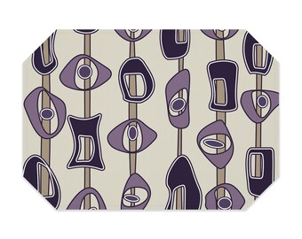 Mid century modern placemat, washable polyester placemat, printed cloth placemat, purple, tan, fabric placemat, table linens, table setting