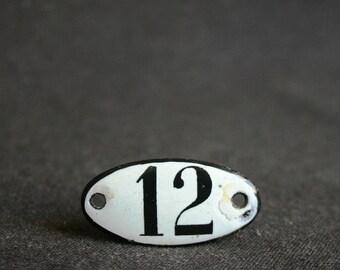 Hello December. Vintage number 12 enamel plate. Hotel door or locker room rescued supply.