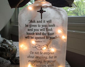 Wine Bottle Lamp, Christian gifts,wine bottle lights,wine bottle lamps,lighted wine bottles,lighted bottles,lamp,sister gifts,friend gifts