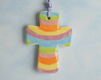Easter Cross Double Sided, Pastel Stripes and Dots, Handmade Ceramic Cross, Confirmation Cross, Baptism Cross, Pottery Cross