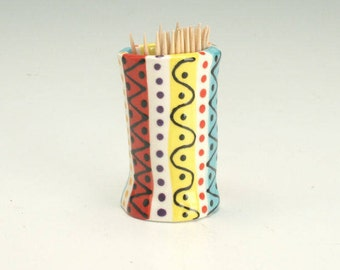 Toothpick Holder, Ceramic Tooth Pick Holder, Small Bud Vase, Hand Built Pottery, Tooth Pick Dispenser, Stripes and Designs, Handmade Gifts
