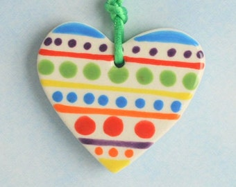 Colorful Heart Ornament Two Sided Stripes and Polka Dots, Handmade Gifts, Ceramic Pottery Heart, Clay Heart Ornament, Gift Packaging
