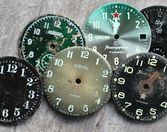 Vintage Wrist Watch Faces -- metal -- set of 6 -- D11