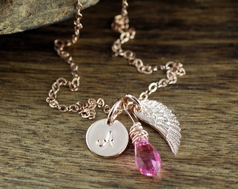 Personalized Jewelry, Rose Gold Angel Wing, Custom Necklace, Memorial Necklace, Miscarriage Necklace, Initial Wing Necklace, Gift for her