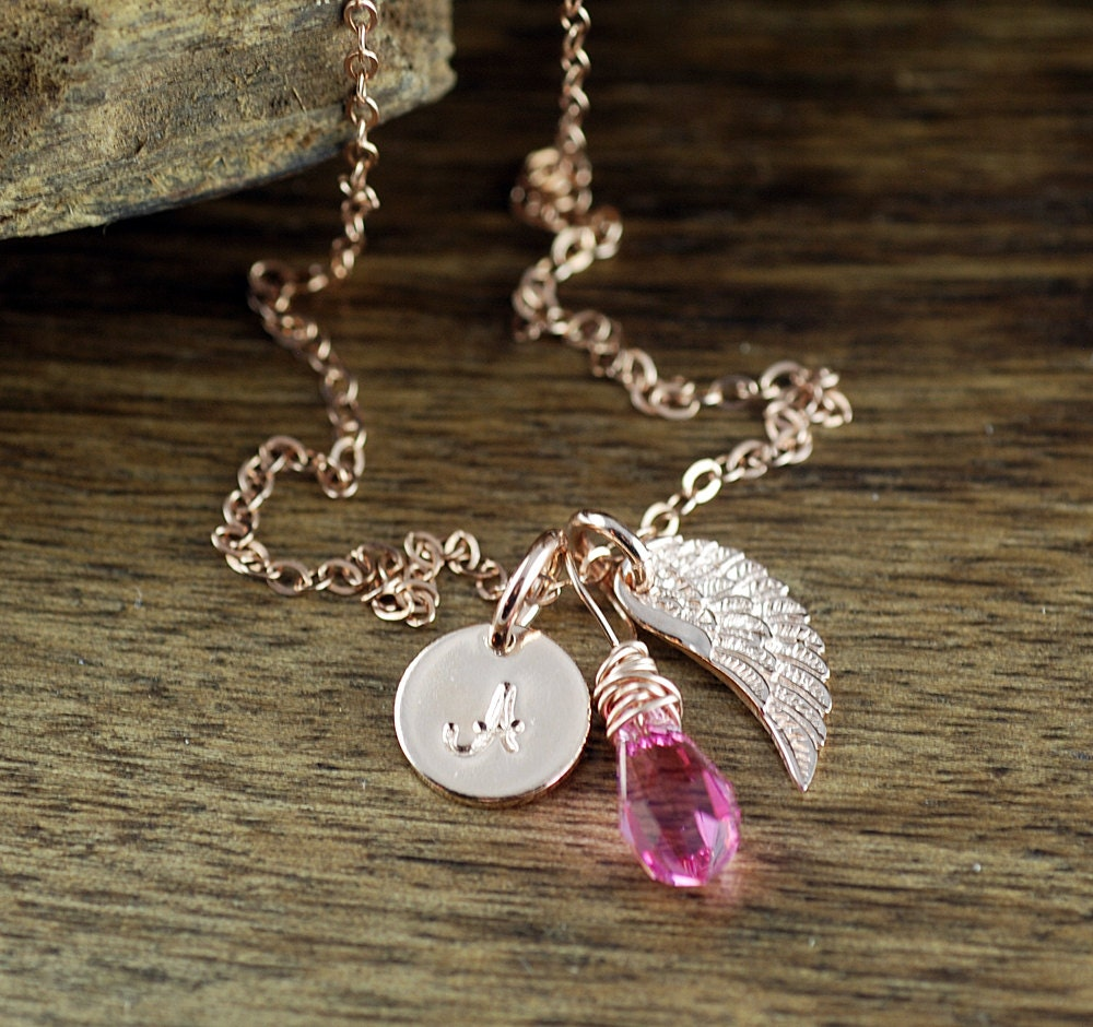 Personalized jewelry rose gold angel wing custom for Rose gold personalized jewelry
