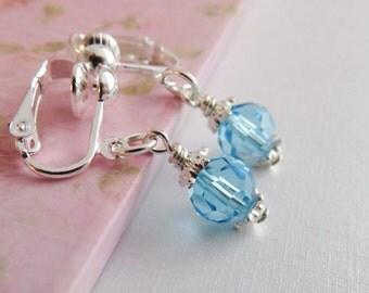 Blue flower girl clip on earrings, flower girl gift, wedding jewelry, small childrens earrings, little girl gift, crystal jewelry