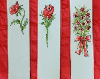 "Bookmark laminated original art pen and ink watercolor 1.5"" x 6.25"" red rose romantic love Valentine's day gift floral flower bouquet"