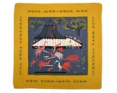 3 New York New York Tammis Keefe Mid-Century Signed Handkerchiefs Times Square Washington Square Central Park Zoo Lower Manhattan Linen