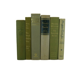 Muted Green Books , Vintage Books , Books , Decorative Books ,  Wedding Decor ,  Photo Prop , Instant Library , Shabby Chic Wedding
