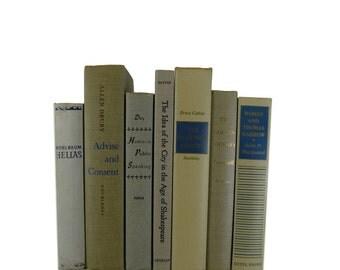 Country Decor, Vintage Beige Blue Decorative Books,  old books , vintage book bundle , photo prop , wedding decor , vintage book set