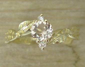 Morganite Leaf Engagement Ring, Gold Leaves Morganite Engagement Ring, Three Stone Ring, Morganite Gold Engagement Ring, Gold Leaves Ring