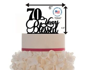Cake Topper 10th 20th 30th 40th 50th 60th 70th 80th 90th Years Blessed Birthday / Anniversary Personalized