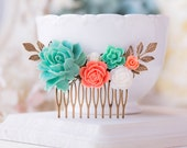 Teal Blue Coral Wedding Bridal Hair Comb Turquoise Aqua Coral White Rose Flower Leaf Hair Comb Country Chic Garden Wedding Floral Hair Piece
