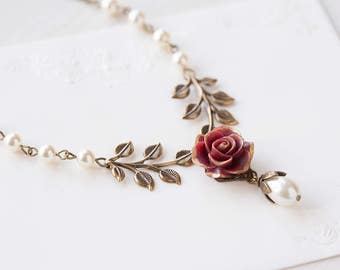 Dark Red Rose Flower Brass Leaf Cream White Pearl Necklace, Gold Maroon Marsala Burgundy Bridal Necklace, Woodland Garden Wedding Jewelry