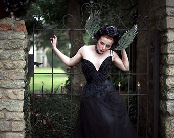 Black and Silver 'Luna Wing' Winged Sequin Couture Gothic Floral Headdress